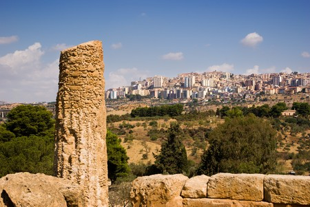 doric column on background city of Agrigento Stock Photo - 4343490