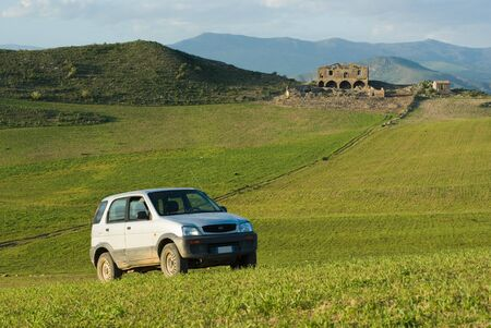 landscape for one vehicle off-road and country house photo