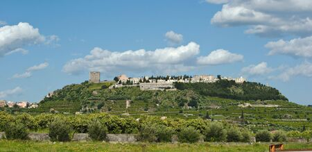 norman castle: The hill with the castle of Paternò Stock Photo
