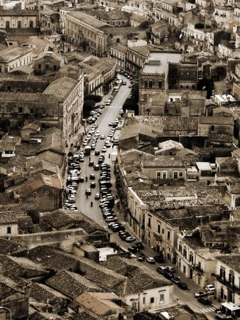 Panorama vintage of houses in italian town photo