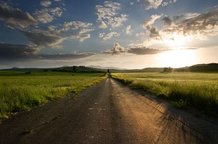 long straight road midle of rural area Stock Photo - 4847447