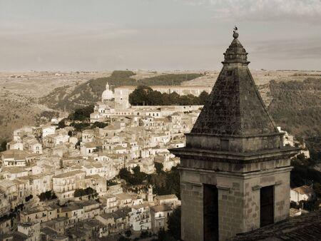 ragusa: Panorama vintage of houses in italian town (Ragusa