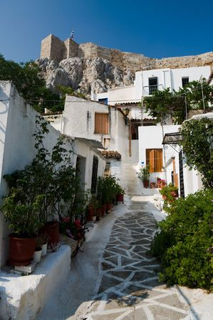 streetscene: village of Anafiotika it is located directly under the north section of the Acropolis (section of Plaka in town of Athens