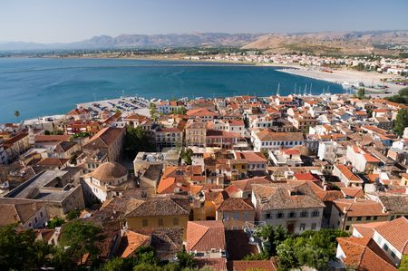 aerial view on the bay and on the roofs of the city of Nauplia, Greece