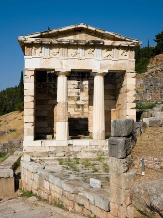 athenians: The reconstructed Temple of Treasury of the Athenians of Sanctuary of Apollo in oracle Delphi, Greece.