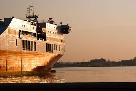 ferryboat: ferryboat in the harbour of Bari at the sunset Stock Photo