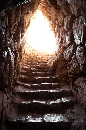 stone stairs: exit of a cave in archaeological excavations of mycenae