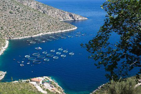 pesquero: Pesca en el mar azul del Peloponeso, Grecia