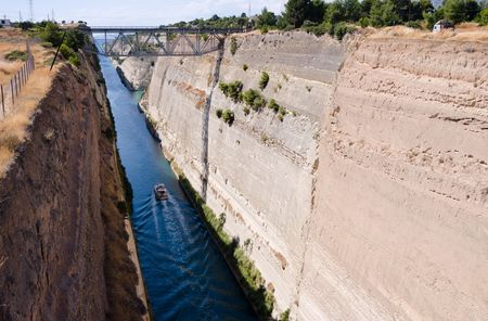 isthmus: Ship crossing Corinth canal in Greece
