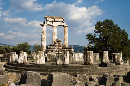 Tholos of temples circular of Sanctuary of Athena Pronaia of oracle delphic, Greece photo