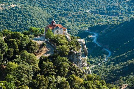 arcadia: valley of river Loussios and Agios Athanassios church in Timios Prodromos Monastery Stock Photo