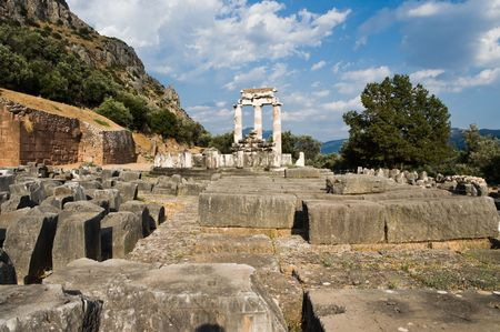 Tholos of temples circular of Sanctuary of Athena Pronaia of oracle delphic, Greece Stock Photo - 5744369