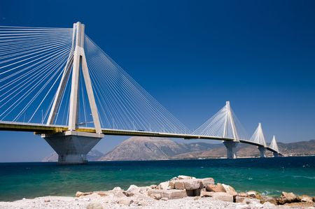 suspension bridge crossing Corinth Gulf strait, Greece.  Is the worlds second longest cable-stayed bridge;
