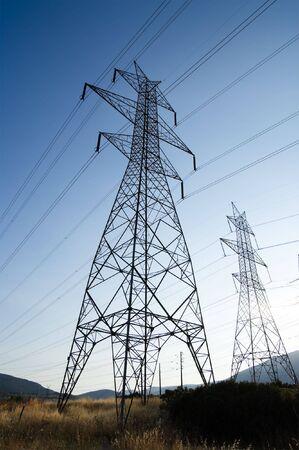 Electricity Pylon at dusk photo