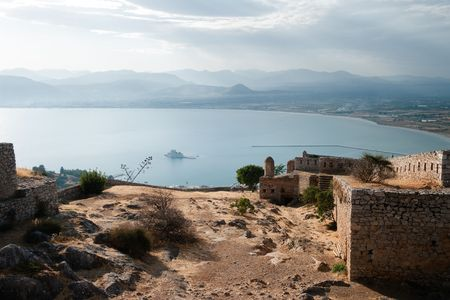 bourtzi: aerial view of bay of Nauplion with castle of Bourtzi on small island from the ruins of fortress of Palamidi