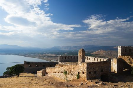 the ruins of fortress of Palamidi in Nauplion, Greece photo