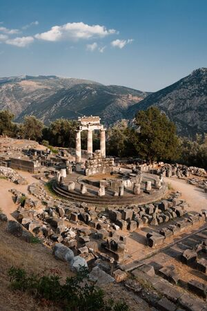 oracle: Tholos of temples circular of Sanctuary of Athena Pronaia of oracle delphic, Greece