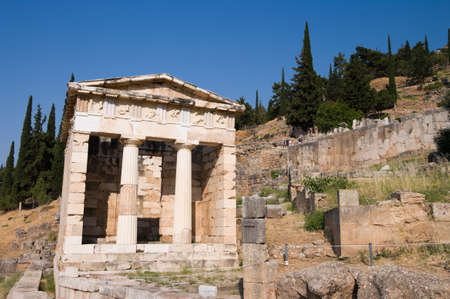 athenians: The reconstructed Temple of Treasury of the Athenians of Sanctuary of Apollo in oracle Delphi, Greece