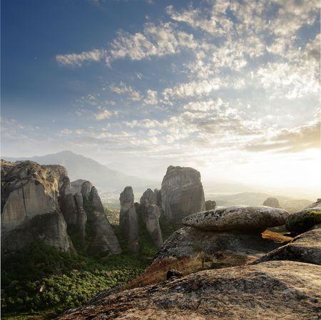 solar sunset on the rocks of Meteora, Greece Stock Photo