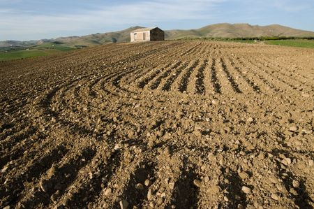 red furrows of a ploughed field and rural hut photo