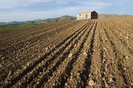ploughed: red furrows of a ploughed field and rural hut