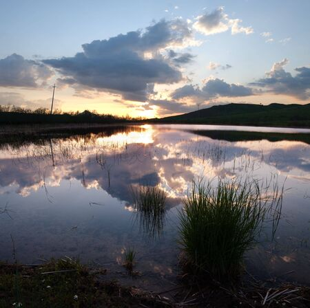 pond with clumps of reeds is reflecting the clouds at the twilight Stock Photo - 6259665