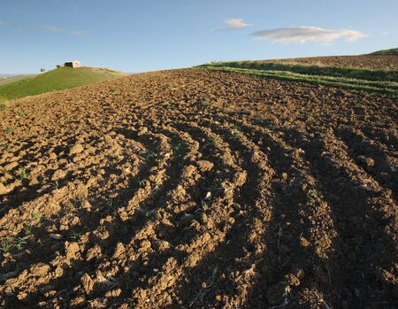 ploughed field and rural hut against cloudy sky photo