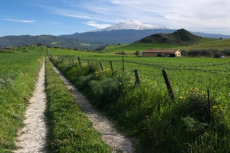 rural road crosses farmland to the slopes of mount Etna covered by snow  photo