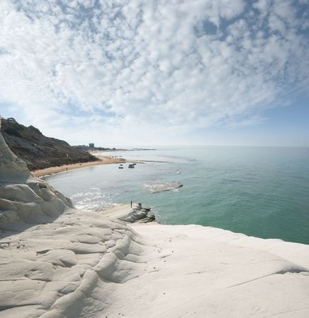 seascape of bay with white cliff and overcast sky  photo