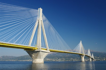 suspension bridge crossing Corinth Gulf strait, Greece. Is the worlds second longest cable-stayed bridge