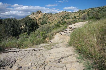 landslip: the landslide of a rural road Stock Photo