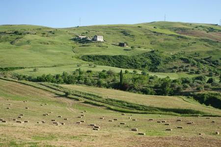 countryside of sicilian hinterland with farmhouse Stock Photo - 7073536