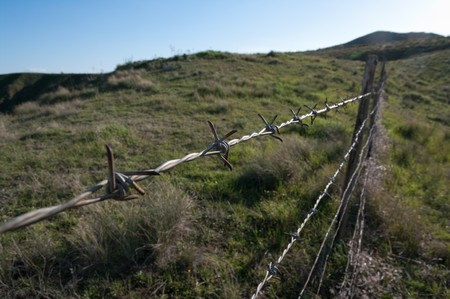perspective barbed wire in barren countryside  photo