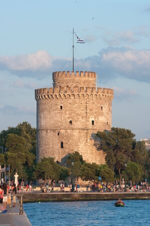 white tower is the symbol of Thessaloniki city, Greece