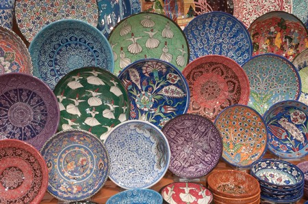 turkish dishes in colorful ceramics decorated in the Grand Bazaar, Istanbul