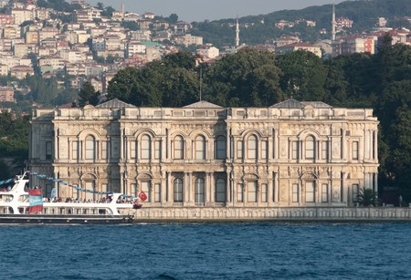 Beylerbeyi palace on the asian Bosporus waterfront, Istanbul Stock Photo