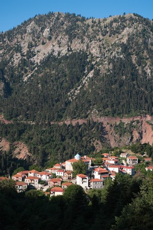 Fidakia is a village located in mountain covered pine forests of Evritania in Greece photo