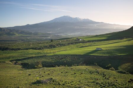 wide rural landscape and snowy volcano etna at first morning light photo