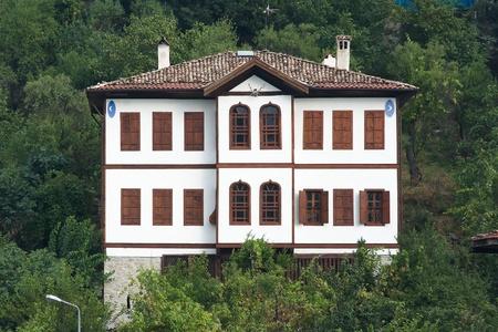 wooden facade: traditional house ottoman in old village of Safranbolu, Turkey Stock Photo