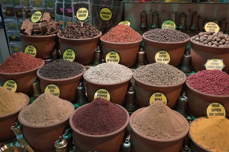 many types of pepper and other spices in containers like vases in Grand Bazaar, Istanbul, Turkey photo