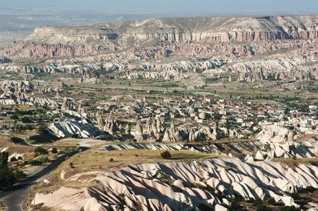fairy chimneys on the valley of Cappadocia from Uchisar, Turkey photo