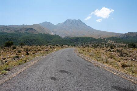 inactive: road to Hasan Dagi, inactive volcano (3253m) in central Anatolia, Turkey