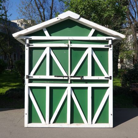 prefabricated: wooden prefabricated building green and white