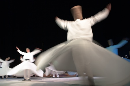 whirling dervishes dancing in Konya, Turkey Stock Photo