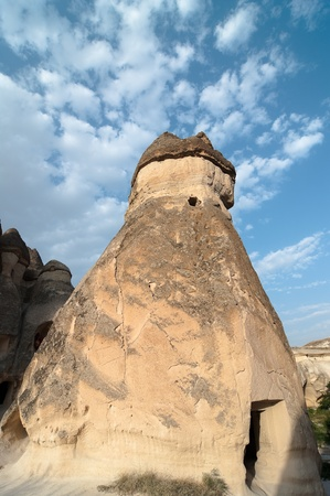 rock formation: typical rock formation at twilight in Cappadocia, Turkey  Stock Photo