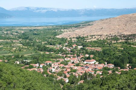 high view of valley and Ljubojno village located in the Republic of Macedonia photo