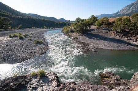 albania: beauty landscape of Vjosa river in southwestern Albania