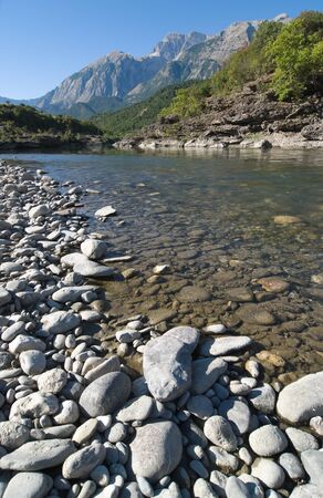 albanian: beauty landscape of Vjosa river in southern Albania