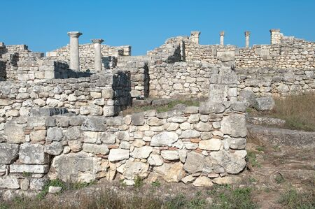 albanian: ruins of episcopal complex in ancient city of Byllis, Albania