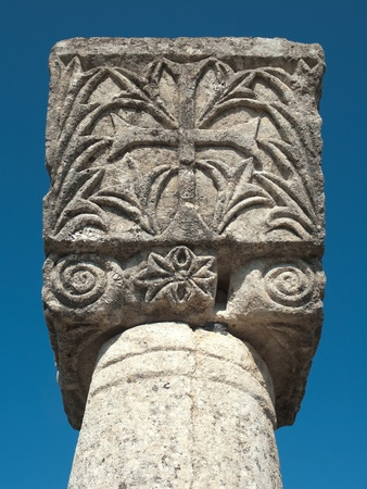 albania: decorated capital with greek cross of episcopal complex in Ancient Byllis, Albania